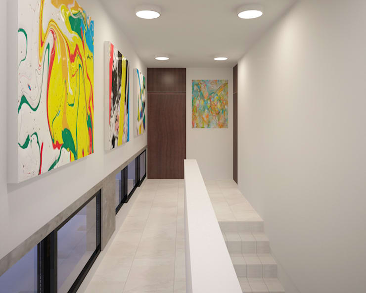 pasillo : Pasillos y recibidores de estilo  por ANGOLO-grado arquitectónico