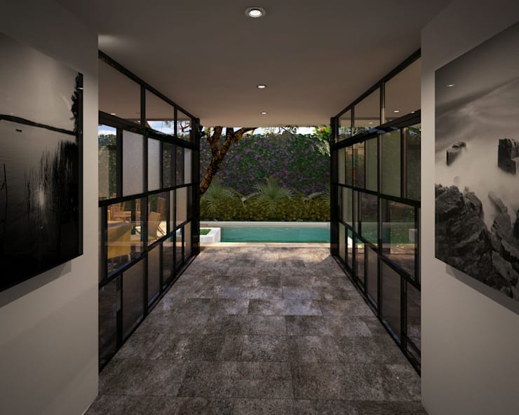 Vestíbulo : Pasillos y recibidores de estilo  por ANGOLO-grado arquitectónico