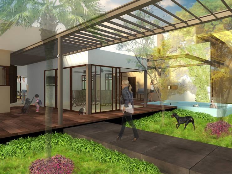 Acceso: Casas de estilo  por ANGOLO-grado arquitectónico