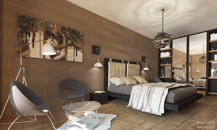 Contemporary Interior for an apartment, Sofia:  Bedroom by Inspiria Interiors