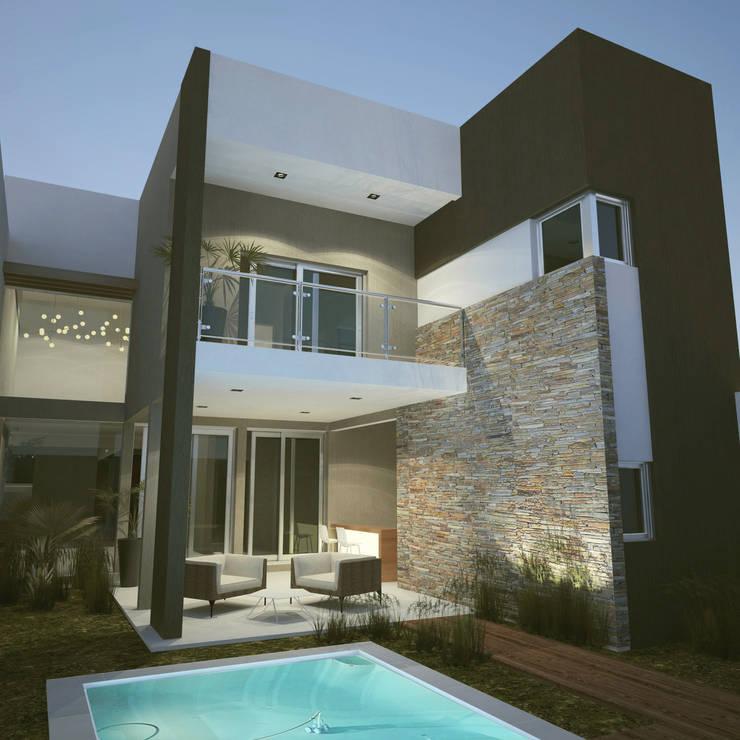 Integración exterior - interior - Juego de Volúmenes : Casas de estilo  por FILIPPIS/DIP - DISEÑO Y CONSTRUCCION