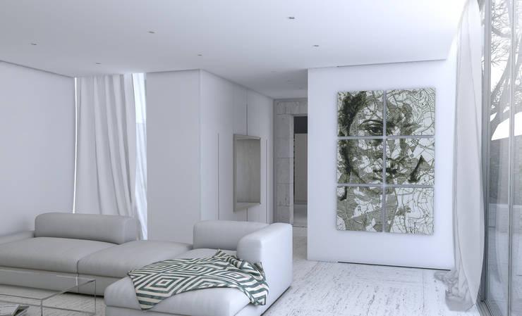 Vista para a zona de leitura entre a sala de estar e cozinha: Salas de estar  por Varq.