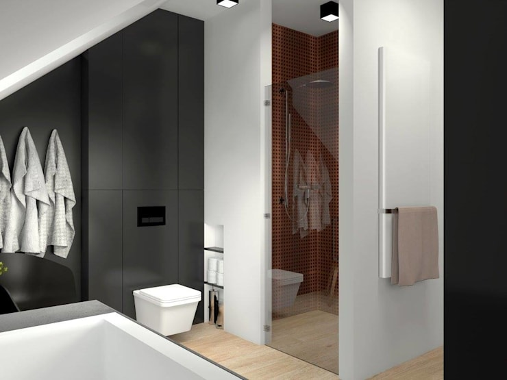 KNURÓW - BATHROOM: styl , w kategorii Łazienka zaprojektowany przez Renia Bartoszek Projektant Wnętrz