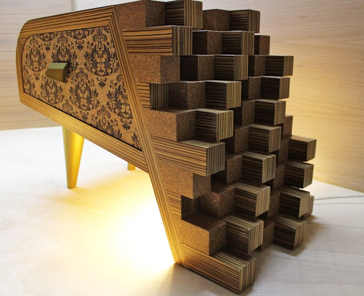 "bedside table "" Beatrice"": Quarto  por Salete Peixinho Design Studio"