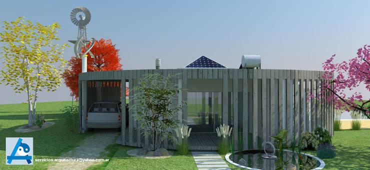 CASA DE CAMPO - BIOCLIMÁTICA Y CON FENG SHUI: Casas de estilo  por ARQUITECTURA FENG SHUI,Rural