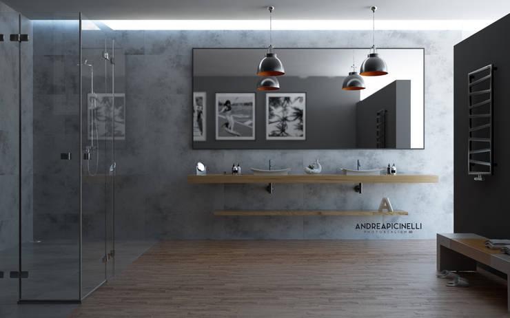 3D Render: Bagno in stile in stile Minimalista di Andrea Picinelli