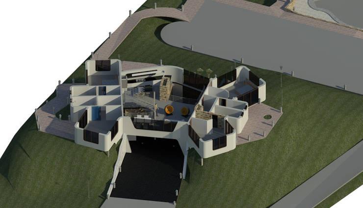 Sección Horizontal de Planta Baja: Oficinas de estilo  por Bioarke Construcciones C.A.