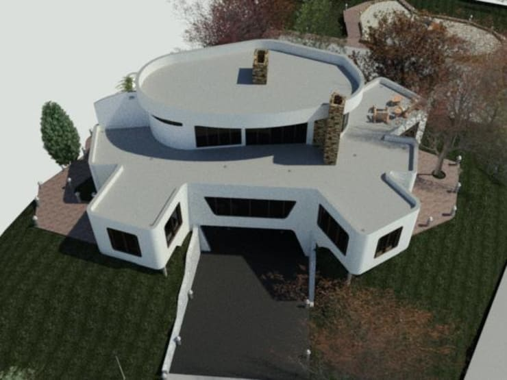 Perspectiva Militar de la fachada frontal de la vivienda.: Casas de estilo  por Bioarke Construcciones C.A.