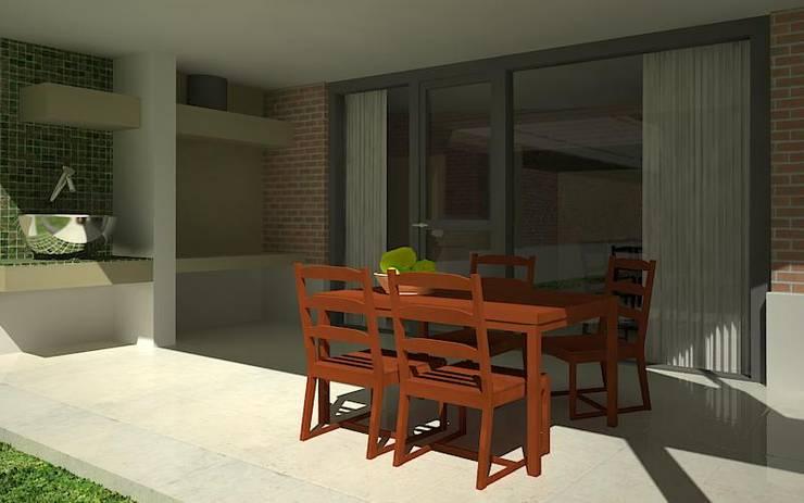 Proyecto para vivienda con tipología en L.: Casas de estilo  por Estudio Marcos Fernandez