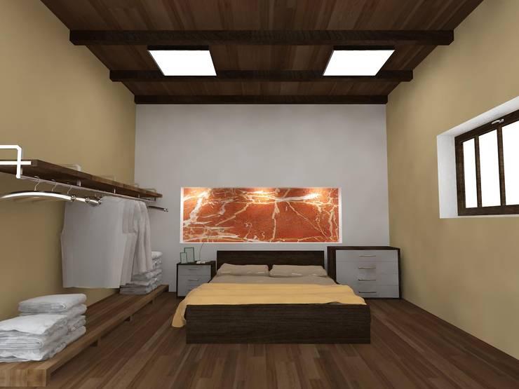 Proyecto para vivienda con tipología en L.: Dormitorios de estilo  por Estudio Marcos Fernandez