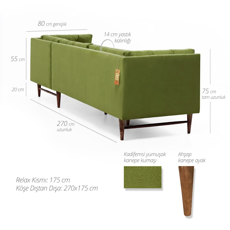 K105 Mobilya Pazarlama Danışmanlık San.İç ve Dış Tic.LTD.ŞTİ. – Point Retro Life Yeşil Köşe Kanepe:  tarz Oturma Odası