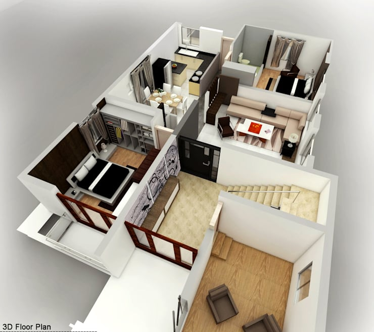 Isometric View:   by Izza Architects & Interior designers