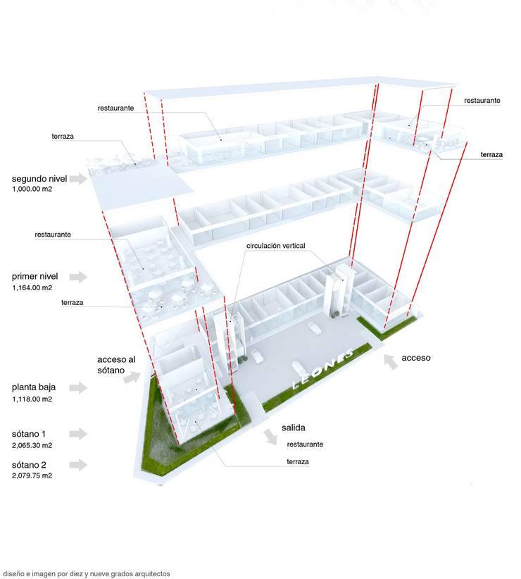 Plaza por pisos:  de estilo  por Diez y Nueve Grados Arquitectos
