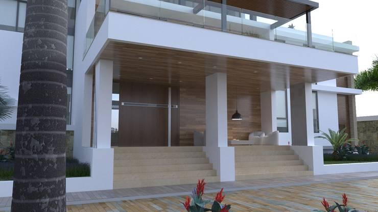Acceso vivienda Casas modernas de Area5 arquitectura SAS Moderno Madera Acabado en madera
