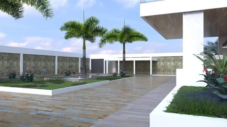 Zona exterior acceso vehicular Casas modernas de Area5 arquitectura SAS Moderno