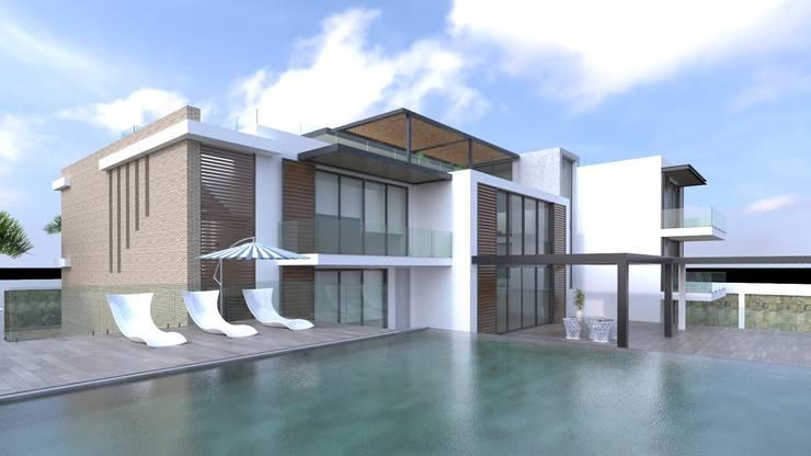 Fachad principal - Vista desde la piscina Casas modernas de Area5 arquitectura SAS Moderno