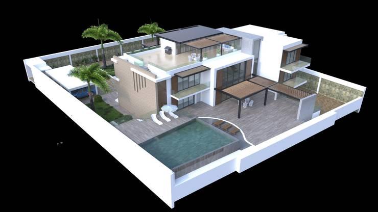 Volumetria del proyecto: Casas de estilo  por Area5 arquitectura SAS