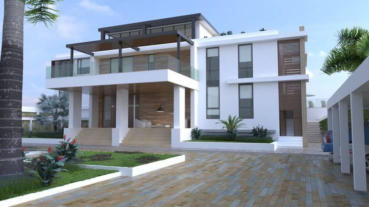 Fachada posterior Casas modernas de Area5 arquitectura SAS Moderno