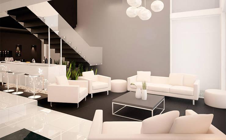 Casa PG: Salas de estilo  por BCA taller de diseño