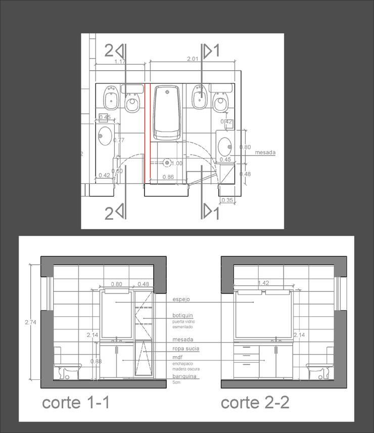 Planta - baños apareados: Baños de estilo  por D&D Arquitectura