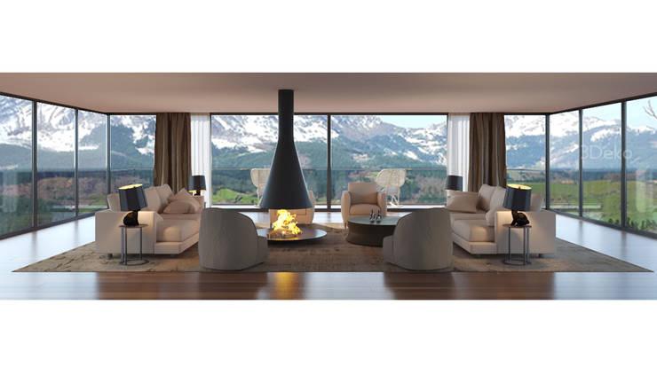 Sala de estar en la montaña: Salas de estilo  por 3Deko