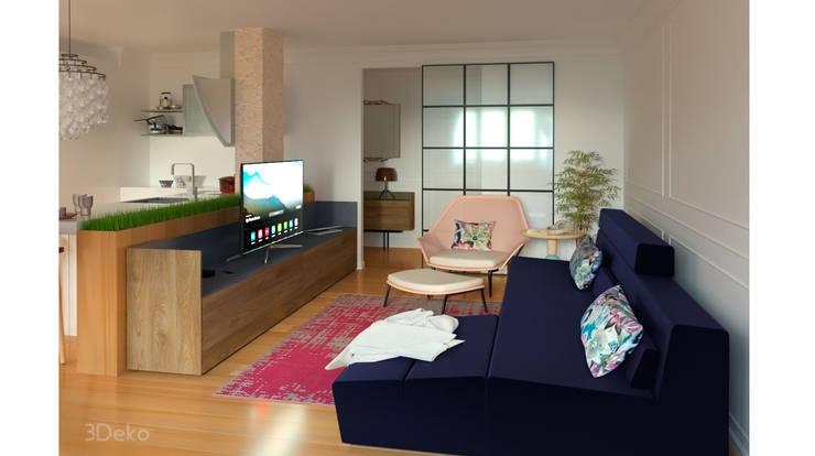 Living room 3D render: Salas de estilo  por 3Deko