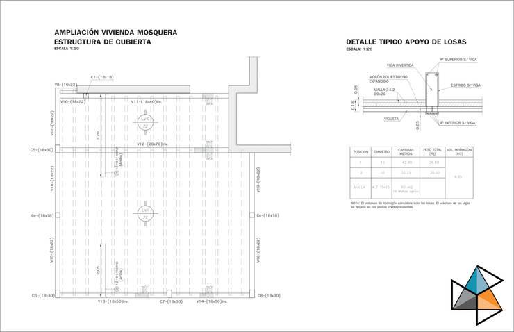 Proyecto estructural para ampliación de vivienda: Casas de estilo  por Trecon Arquitectura e Ingeniería,