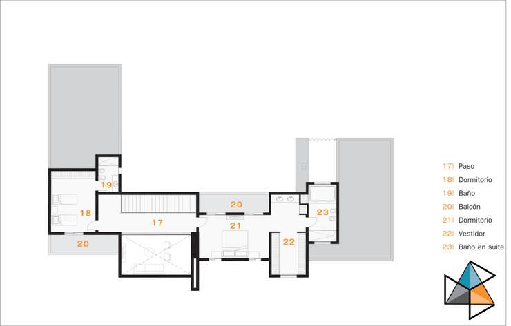 Planta alta: Casas de estilo  por Trecon Arquitectura e Ingeniería