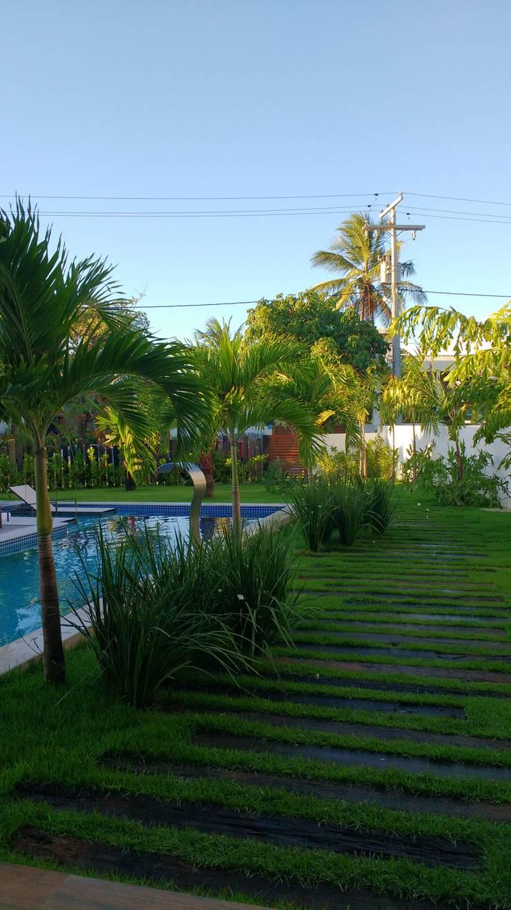Jardines de estilo  por Tânia Póvoa Arquitetura e Decoração, Tropical Madera Acabado en madera