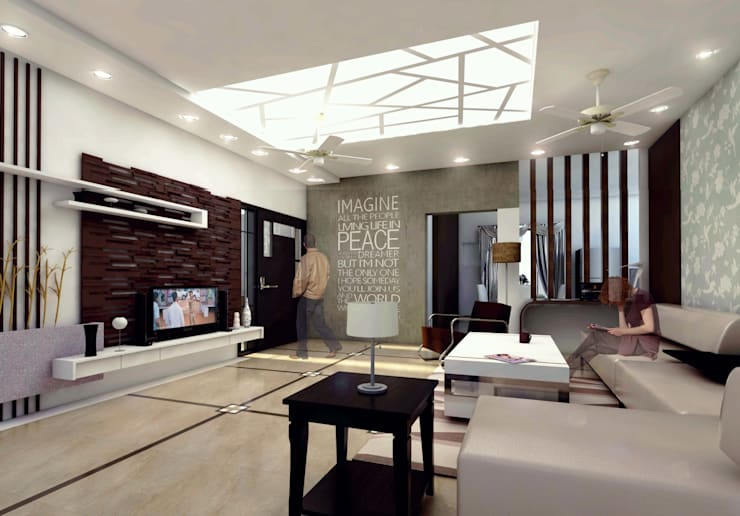 Mr. Babu Residence:  Living room by Izza Architects & Interior designers