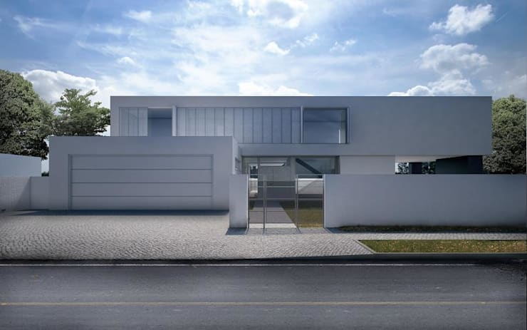 Dom w Pęcicach Małych: styl minimalistyczne, w kategorii Domy zaprojektowany przez pracownia projektowa
