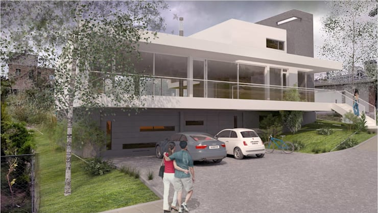 Frente Principal 2: Casas de estilo  por Poggi Schmit Arquitectura