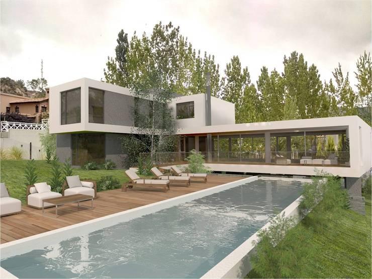 Desde Patio: Casas de estilo  por Poggi Schmit Arquitectura