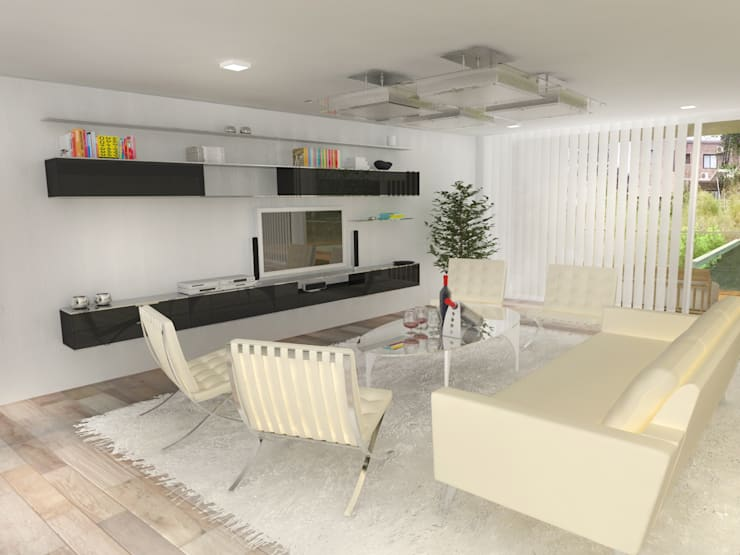 Interior Estar: Casas de estilo  por Poggi Schmit Arquitectura