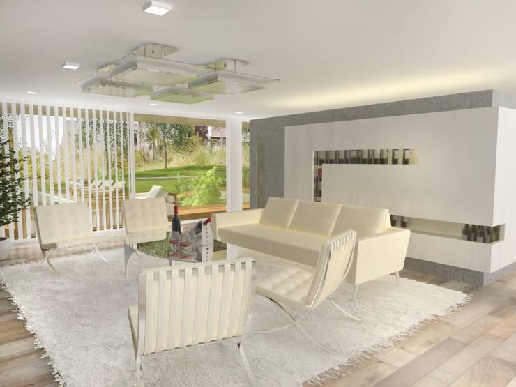 Interior Estar 2: Casas de estilo  por Poggi Schmit Arquitectura
