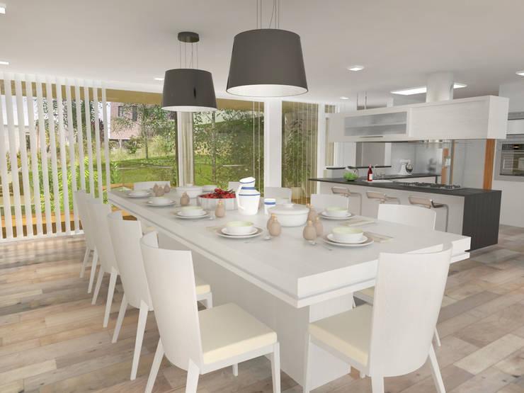 Interior Comedor: Casas de estilo  por Poggi Schmit Arquitectura