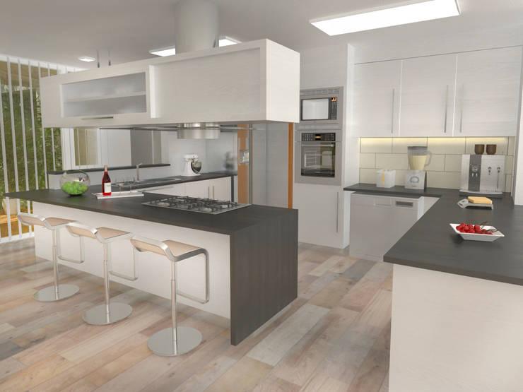 Interior Cocina 2: Casas de estilo  por Poggi Schmit Arquitectura