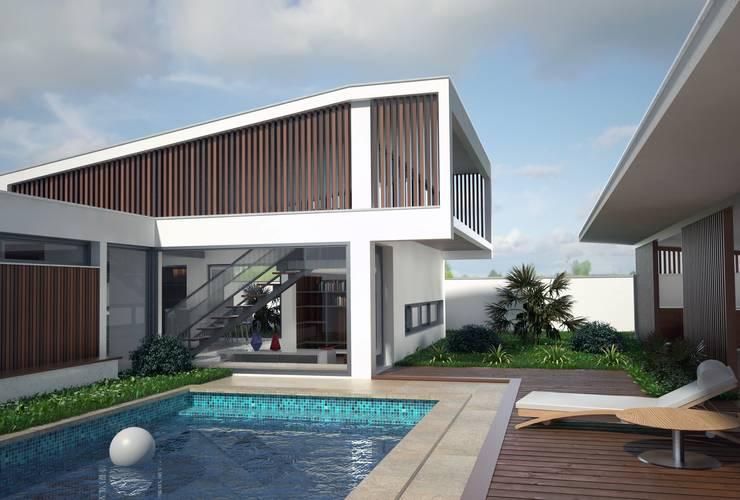 Pátio Exterior: Casas  por PROJETARQ