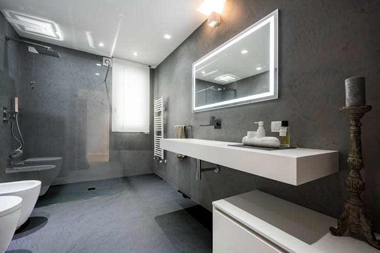Bagno grigio moderno idee e combinazioni colore for Bagno moderno grigio