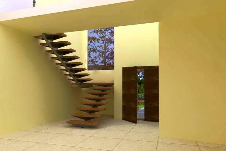 Proyecto en country Los Olivos  Casa PZNL: Pasillos y recibidores de estilo  por Obras & Proyectos,