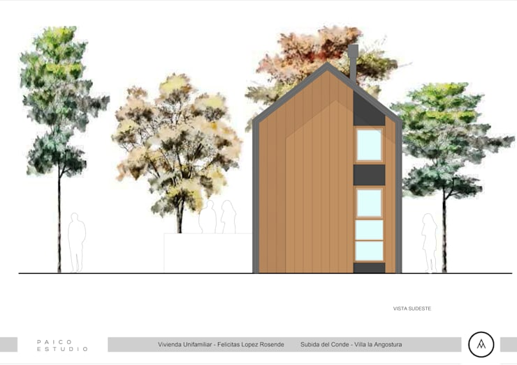 Vista Lateral Sur: Casas de estilo  por Paico,
