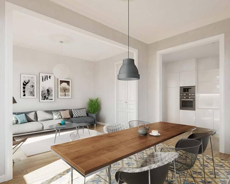 Render 3D vivienda en Barcelona: Comedores de estilo  de Berga&Gonzalez - arquitectura y render