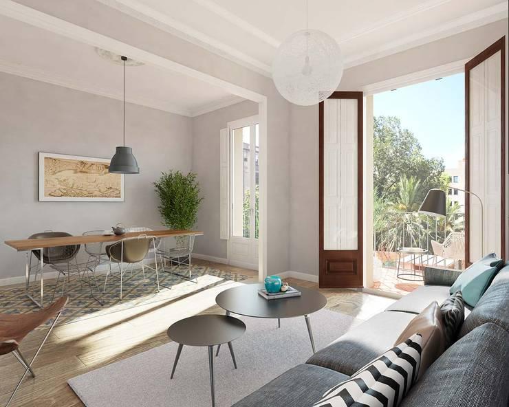 Render 3D vivienda en Barcelona: Salones de estilo  de Berga&Gonzalez - arquitectura y render