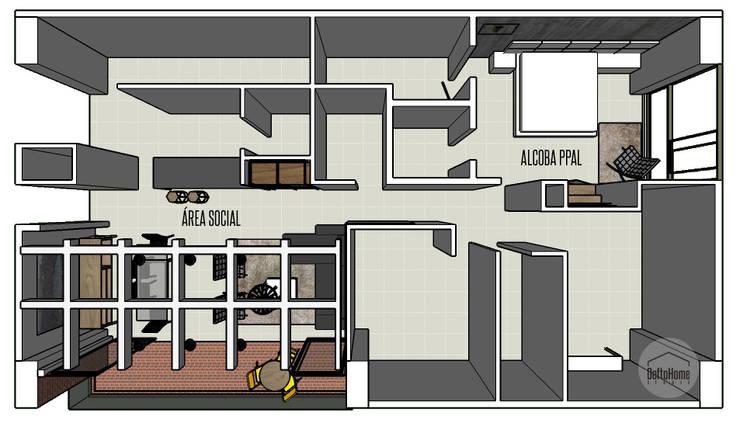 Diseño 3D: Salas de estilo  por DeftoHomeStudio INC