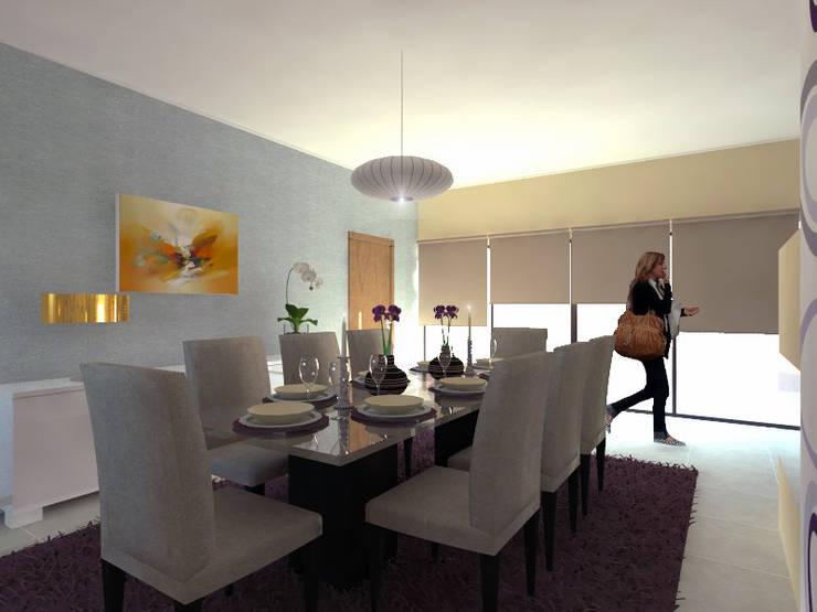 Projecto de Remodelação na Marisol: Salas de jantar  por Projectos Arquitectura & 3D