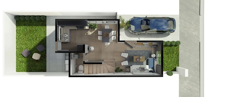 Planta Baja:  de estilo  por Diez y Nueve Grados Arquitectos