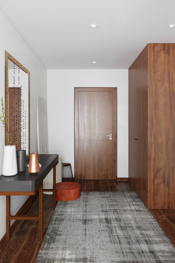 HALL: Corredores e halls de entrada  por DZINE & CO, Arquitectura e Design de Interiores