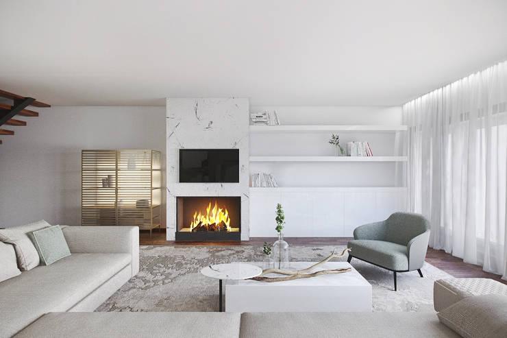 SALA DE ESTAR: Salas de estar modernas por DZINE & CO, Arquitectura e Design de Interiores
