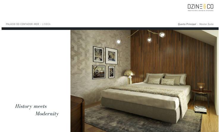 Palácio do Contador Mor : Quartos  por DZINE & CO, Arquitectura e Design de Interiores