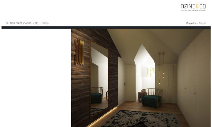 Palácio do Contador Mor : Closets  por DZINE & CO, Arquitectura e Design de Interiores